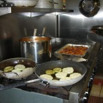 Eggplant sauteing in olive oil